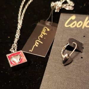 Cookie Lee jewelry set heart in box